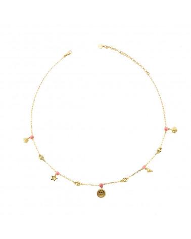 rue-des-mille-collana-argento-dorato-maglia-marina-sfere-smaltate-rosa-conchiglie-pendenti-aegr02r