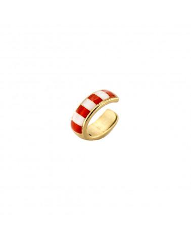 rue-des-mille-earcuff-argento-dorato-righe-smaltate-bianco-corallo-aeearc