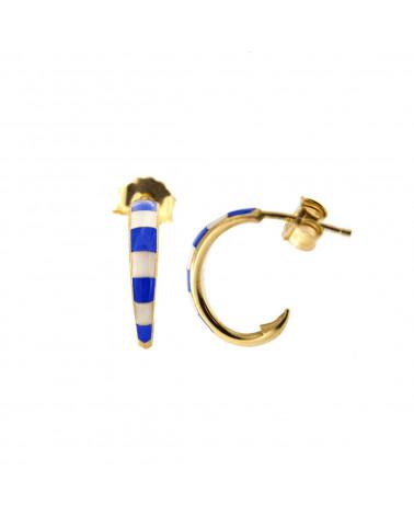 rue-des-mille-mono-orecchino-cerchio-argento-dorato-smaltato-righe-bianche-blu-aeorcercb