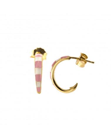 rue-des-mille-mono-orecchino-cerchio-argento-dorato-smaltato-righe-bianche-rosa-aeorcercr