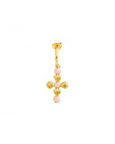 rue-des-mille-mono-orecchino-cerchietto-argento-dorato-croce-conchiglie-alternate-smalto-rosa-aeorcro