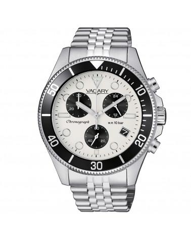 vagary-orologio-uomo-aqua-39-crono-acciaio-movimento-al-quarzo-bracciale-quadrante-bianco-ghiera-nero-vs101911