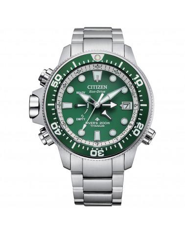 citizen-orologio-uomo-crono-aqualand-eco-drive-cassa-bracciale-titanio-quadrante-verde-bn204084x