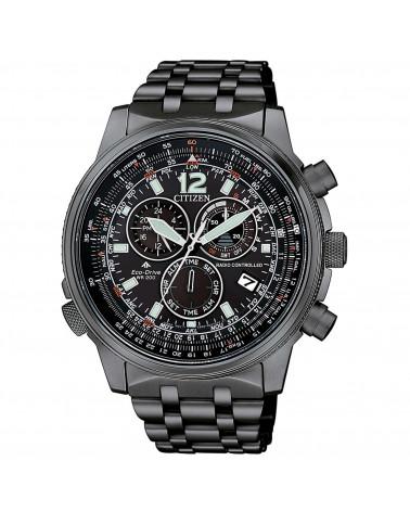 citizen-orologio-uomo-acciaio-brunito-eco-drive-pilot-crono-bracciale-quadrante-nero-cb586787h