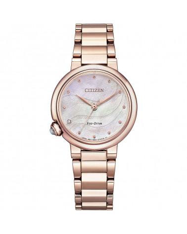 citizen-donna-acciaio-rosato-eco-drive-lady-tondo-quadrante-madreperla-diamante-corona-cabochon-em091284y