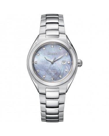 Citizen-Orologio-donna-Eco-Drive-Lady-cassa-bracciale-Supertitanio-quadrante-madreperla-blu-con-diamanti-ew261187n