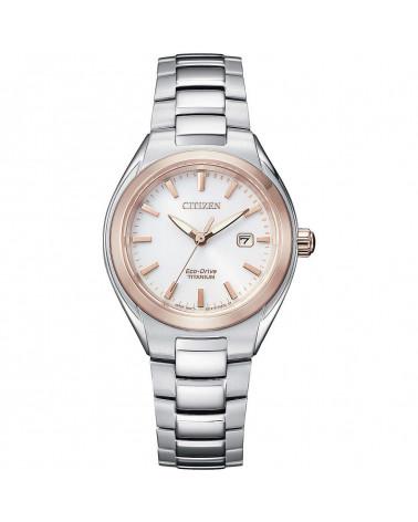 Citizen-Orologio-donna-Eco-Drive-Lady-cassa-bracciale-Supertitanio-quadrante-bianco-con-dettagli-oro-ew261683a