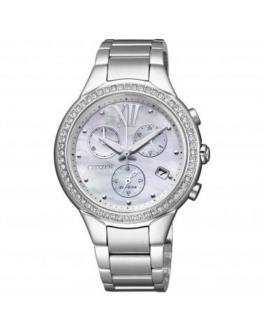 citizen-orologio-donna-acciaio-eco-drive-lady-cronografo-quadrante-madreperla-ghiera-cristalli-bianchi-fb132156a