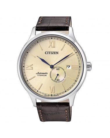 Citizen-Orologio-uomo-Super-Titanio-meccanico-carica-automatica-quadrante-champagne-cinturino-pelle-marrone-nj009030p