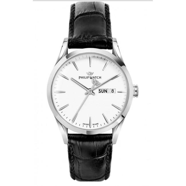 Philip-Watch-Sunray-Orologio-uomo-quarzo-quadrante-bianco-cinturino-pelle-nero-r8251180011