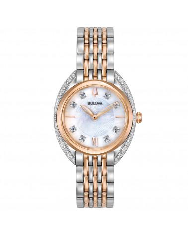 Bulova-Orologio-donna-classic-Lady-cassa-e-bracciale-acciaio-bicolore-quadrante-madreperla-con-diamanti-98r270