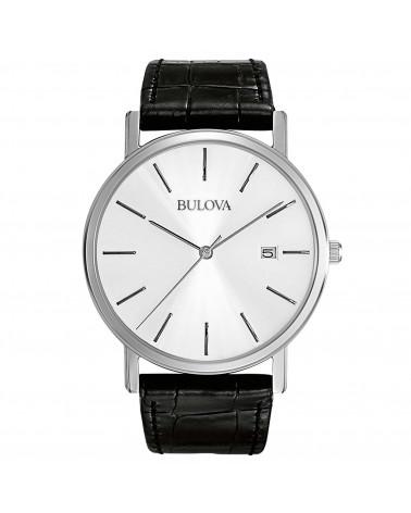 Bulova-Orologio-uomo-classic-elegant-cassa-acciaio-cinturino-pelle-nero-quadrante-bianco-96b104