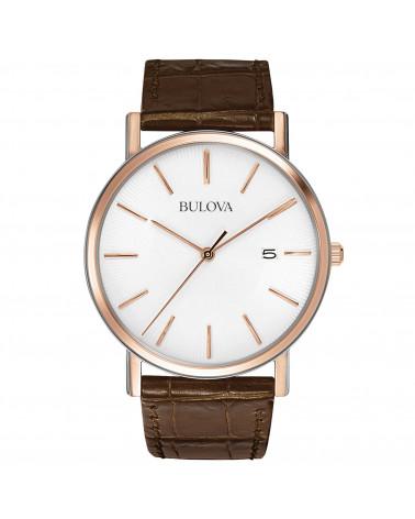 Bulova-Orologio-uomo-classic-elegant-cassa-acciaio-placcato-oro-rosa-cinturino-pelle-marrone-quadrante-bianco-98h51