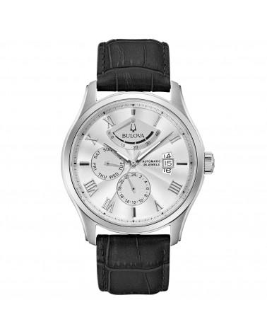 Bulova-Orologio-uomo-wilton-power-reserve-automatico-cassa-acciaio-cinturino-pelle-nero-quadrante-silver-96c141
