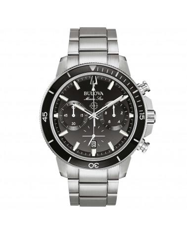 Bulova-Orologio-uomo-marine-star-crono-cassa-e-bracciale-acciaio-satinato-quadrante-nero-96b272