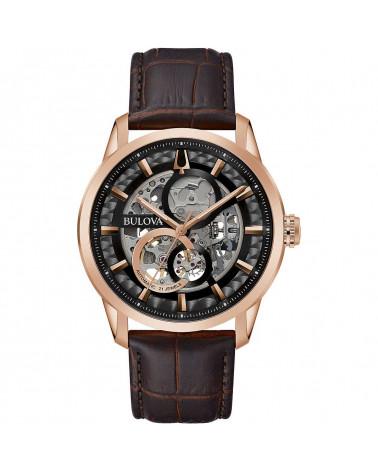 Bulova-Orologio-uomo-Sutton-Automatic-cassa-acciaio-placcato-oro-rosa-quadrante-nero-cinturino-pelle-marrone-97a169