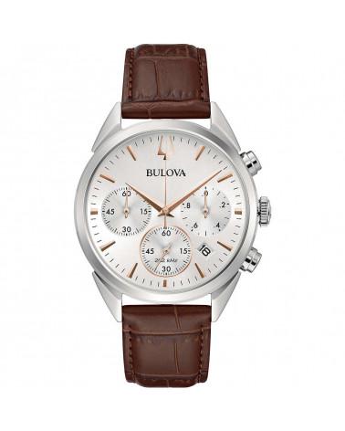 Bulova-Orologio-uomo-high-precision-cronografo-cassa-acciaio-quadrante-bianco-cinturino-pelle-marrone-96b370