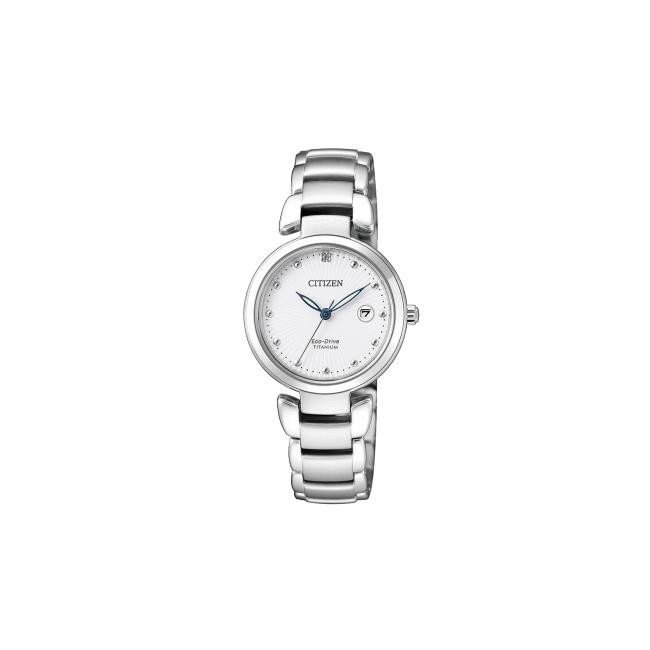 Citizen-Eco-Drive-Lady-Orologio-donna-Super-Titanio-finitura-platino-quadrante-bianco-ew2500-88a