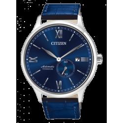 Citizen-Meccanico-Automatico-Super-Titanio-Quadrante-blu--rotore-vista-cinturino-blu-vero-coccodrillo-nj0090-48l