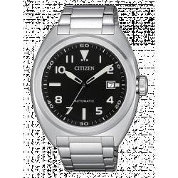Citizen-Meccanico-Automatico-Orologio-uomo-quadrante-nero-bracciale-acciaio-nj0100-89e